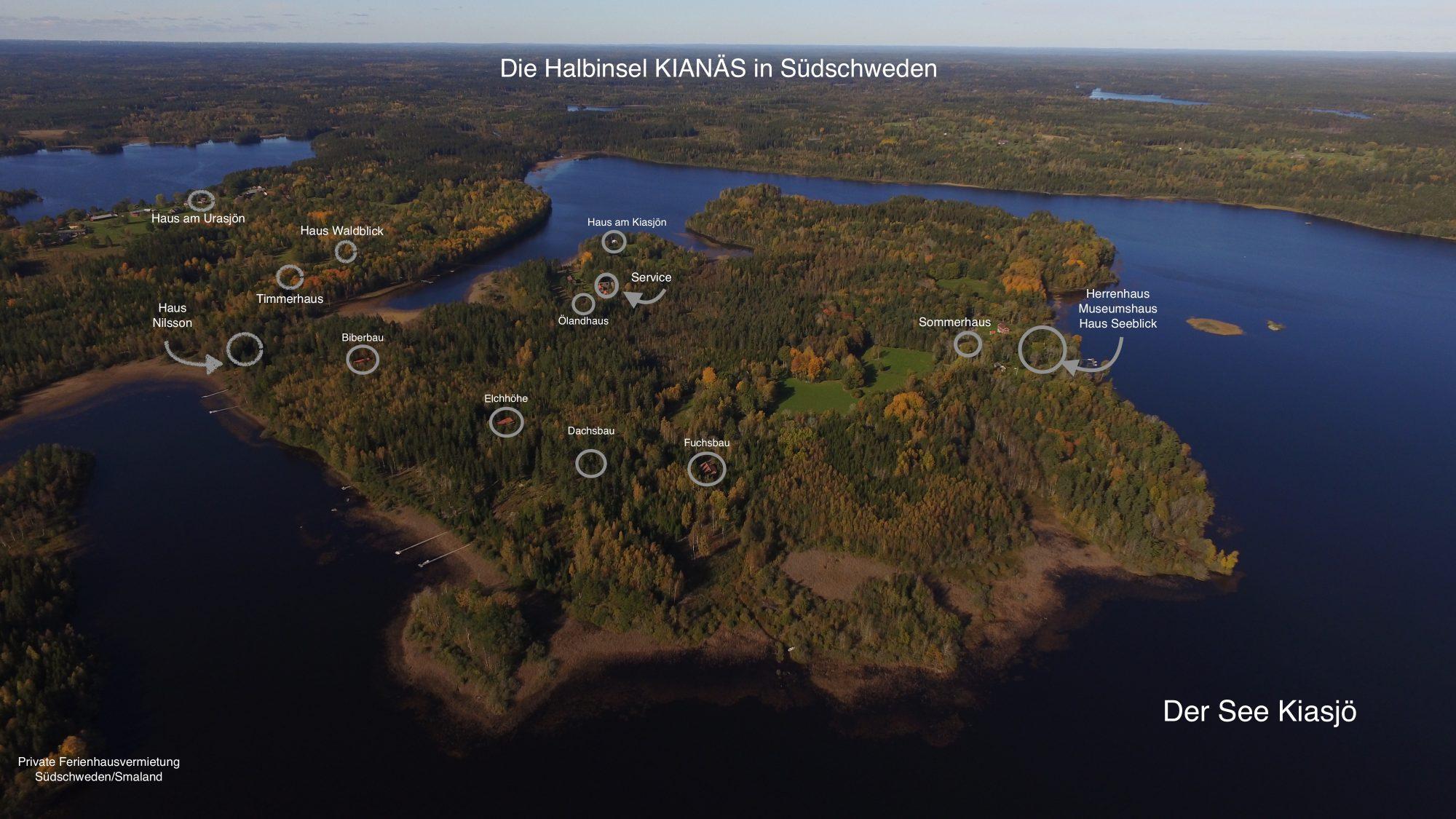 lage der ferienhäuser in schweden-halbinsel kianäs ferienhaus schweden am see